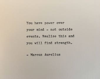 Marcus Aurelius love quote hand typed on antique typewriter gift girlfriend boyfriend husband wife wedding present bi