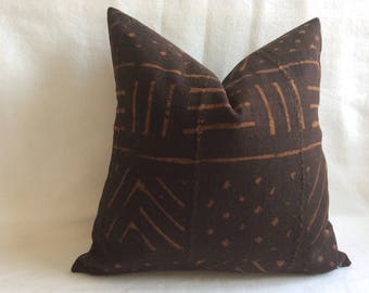 Authentic Mudcloth/ Bogolan Pillow Cover - African Mudcloth - Black/ Brown Earthtones - 18x18