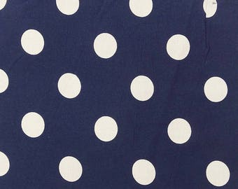 """White Polka Dots Print, Navy Blue Fabric, Quilting Cotton, Home Decoration, 43"""" Inch Cotton Fabric By The Yard ZBC7971A"""