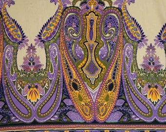 """Designer Handcrafted Fabric, Paisley Print, Beige Fabric, Dressmaking Fabric, 41"""" Inch Cotton Fabric By The Yard ZBC8091B"""