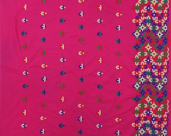 """Floral Embroidery, Home Decor Fabric, Sewing Crafts, Magenta Fabric, Dress Material, 43"""" Inch Cotton Fabric By The Yard ZBD259A"""