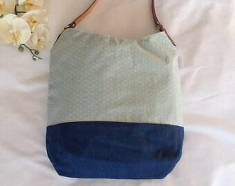 Green Hobo Bag, Longchamp,Cotton, Denim, Leather, Shoulder Bag, Shopping Bag