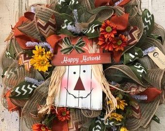 Fall Harvest Sunflower Burlap and Mesh Wreath, Fall Door Wreath, Autumn Mesh Wreath, Scarecrow Wreath, Thanksgiving Wreath, Happy Harvest