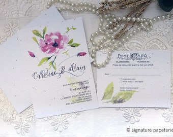 ROSA-CLARA Collection - Floral Watercolor Wedding Invitation and RSVP card Template