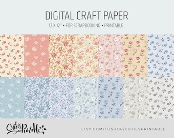 Digital Craft Paper - Floral pattern pack printable digital download for scrapbooking - Craft Sheets - Floral clip art
