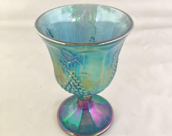 Vintage Blue Carnival Glass Vase