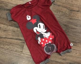 Minnie Mouse, baby romper, handmade baby bodysuit, baby bodysuit, custom baby gift, trendy toddler clothes, t shirt romper, disney