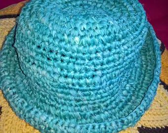 Vintage 90's raffia bowler hat