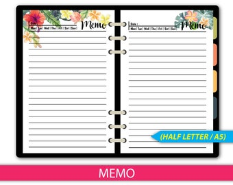 Floral Memo Notes Planner Inserts, Printable Notes Pages A5,Half Size Lined Notes Refills, Kikki K Filofax printable notepaper #halfA018