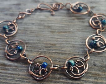 Copper Heart Chain Link Copper Bracelet with Blue or Green Picasso Glass Beads, Wire Wrapped Copper Bracelet, Chain Link Bronze Bracelet
