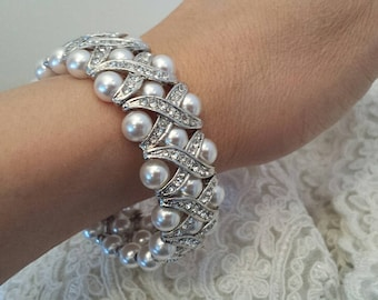 STRETCHY Pearl-Rhinestone bracelet, Bridal Stretchy Bracelet, Bridesmaid Stretchy Bracelet, Wedding Jewelry