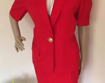 Vintage Authentic Christian Dior Crest Button 2 PC Red Skirt Suit Set size 8 -Flawless!