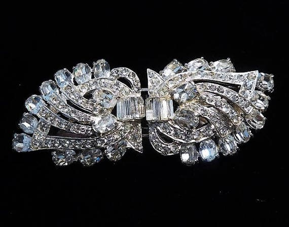 Rhinestone Duette / Joseph Wiesner NY / 1950s Mid Century Fashion Designer / Fur Clips / Dress Clips / Wedding Bride Bridal Jewelry
