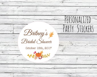 Personalized Fall Autumn Thank You Bridal Shower Stickers, Favor Tags, Labels, Wedding Labels, Wedding Favour Stickers, Wedding Pumpkins