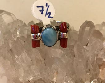Larimar and Coral  Ring Size 7 1/2