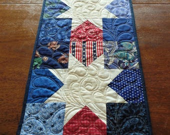 Quilted Patriotic Table Runner, Western Star Table Runner, Americana Table Runner, 4th of July, Red and Blue Table Runner, Reversible Runner