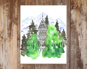 Old Main Watercolor Print