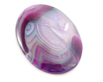 Purple Agate Cabochon. Oval Stone Cabochon. Purple Cabochon for Bead Embroidery. Oval Cabochon with Purple Lines. Purple Stone 40mm x 30mm