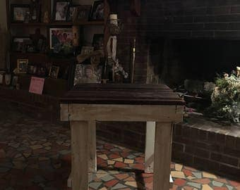 Cypress wood top end table