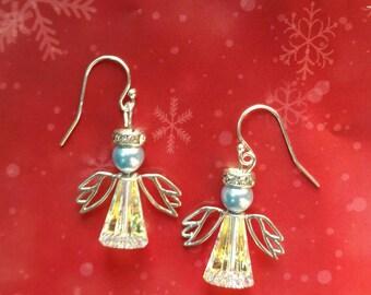 Swarovski Crystal & Sterling Silver Angel Earrings, Christmas Earrings, Holiday Season Earrings