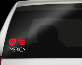 4th of July Decal - Merica Decal - Merica - Independence Day - Freedom Decal - Red White and Blue Decal - Sunglasses Decal - Made in the USA