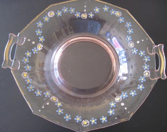 Hand Painted Pink Depression Glass Bowl - Item #1561