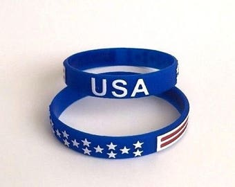 Set of 2 USA Wristband Bracelets Stars and Stripes United States
