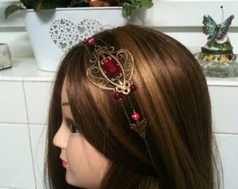 chain Shabby headband bronze,Fuchsia Cristal Swarovski,Agate and rhinstone beads /serretete bronze Shabby en chaine,cristal Fuchsia