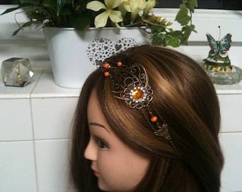 chain shabby headband bronze,rhinstone,Swarovski beads, orange facette /serre tete shabby orange en chaine,strass blanc, perles Swarovski