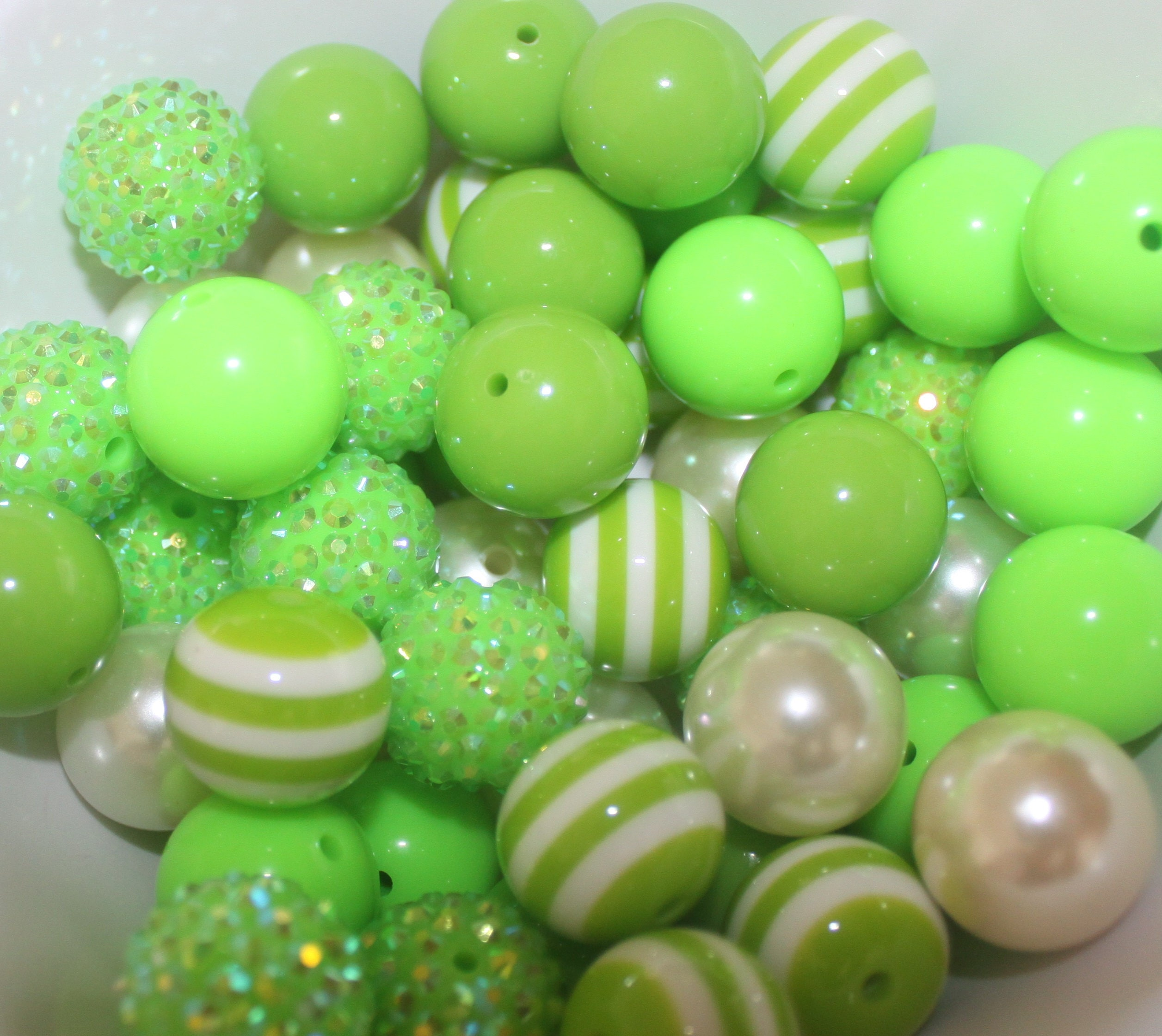 20mm Bead Beads: 50 Bead Mix Lime Green 20mm Beads