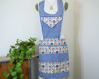 Blue Gingham Apron, Handmade Apron, Multi-Pocket Apron, Chambermaid Apron, Blue and Red Apron, Farm Apron, Vendor, Garden, Crafters Apron