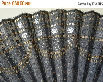 Save 20% Stunning Antique French Hand Sewn Sequins Fan Bridal Accessory 1800s