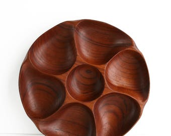 Solid Teak Wood Round Divided Tray Platter Danish Modern