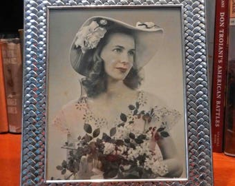 Vintage 1950's Patterned Metal Picture Frame with 8x10 Bride Photograph