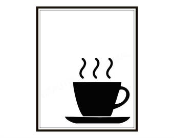 Coffee Cup Art Print   Kitchen Decor, Home Decor, Design, Illustration, Modern, Art, 8 x 10