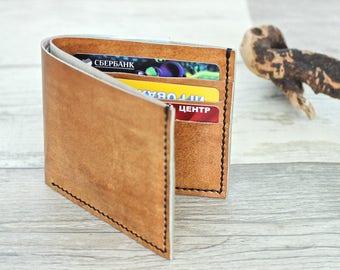 Leather wallet men leather purse minimalist wallet women leather cardholder wallet travel cash holder card case ladies wallet