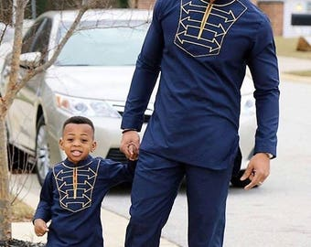 African Men's Outfit, Ankara Men's Attire, Long Sleeve Shirt/Top and Bottom for Men