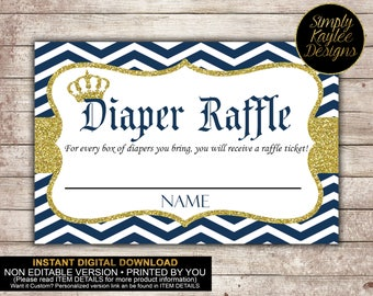 INSTANT DOWNLOAD Little Prince Royal Diaper Raffle Ticket