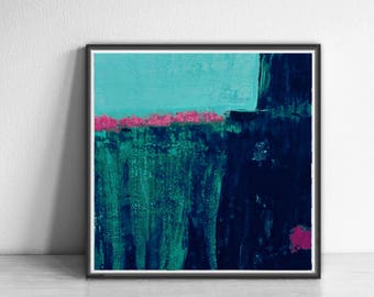 Digital Print, contemporary art, wall art abstract, Abstract Art Print, teal, pink , navy blue, Colorful wall art , Bright and colorful.