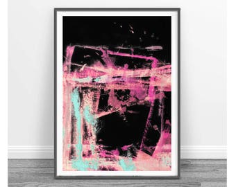 Digital print, decor, wall art abstract, affordable wall art , abstract,   Brush art, black, fuchia, pink, turquoise, peach, colorful set