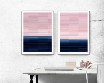 Wall Art Print , Art Poster, modern abstract,   light pink, large print, navy blue and pink, geometric abstract, lines art, glitch, set of 2