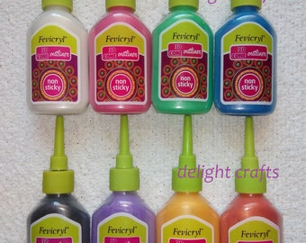 8 Beautiful Fevicryl 3D PEARL Outliner for Clothes,Fabric Pots, Diyas Canvas GET 10% DISCOUNT
