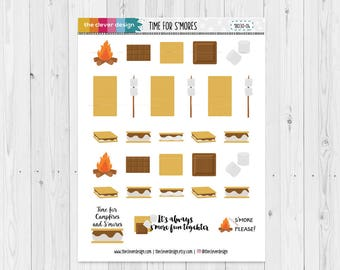 S'mores Planner Stickers | Camping Planner Stickers | Smores | 18030-04