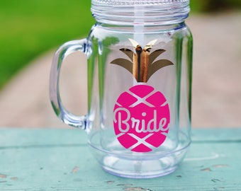 Bachelorette Party Favors, Pineapple Cups, 3 Pineapple Tumblers, Bridesmaid Tumbler, Pineapple Mason Jar, Bachelorette Party Gifts