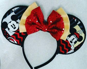 Mickey and minnie disney ears,mickey,minnie,handmade ears,handmade