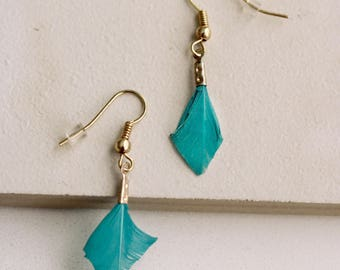 Tiny Feather Drop Earrings