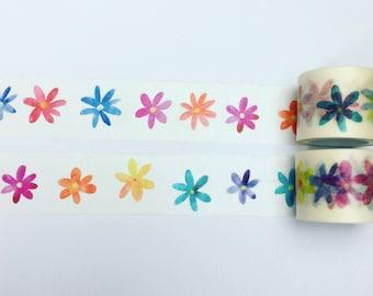 Watercolour flowers washi tape
