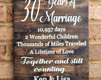 30 Years Of Marriage Hand Painted Wood Sign 30th Anniversary Gift