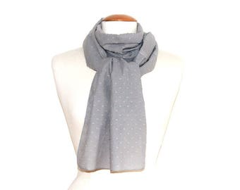 Woman flowing scarf / scarf woman fluid & lightweight - Plumetis cotton light gray