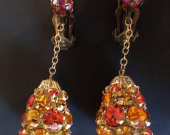 Vintage Orange Lemon Tones Rhinestones Dangle Earrings.